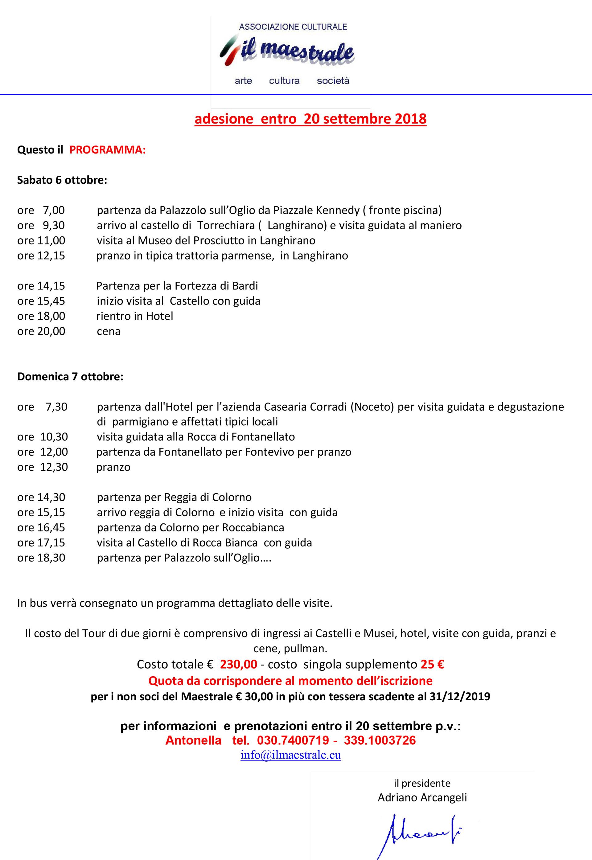 """Sabato 6 e domenica 7 ottobre 2018 """"Tour i Castelli del Ducato di Parma"""""""