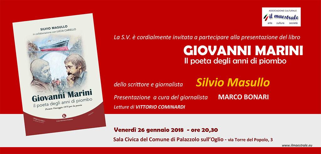 """Presentazione del libro: """"GIOVANNI MARINI: il poeta degli anni di piombo"""" – Silvio Masullo"""